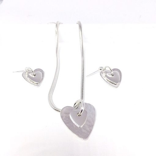 Sterling silver jewellery sets. Heart pendant and earring set