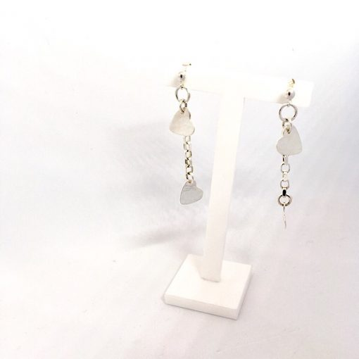Silver cascading heart earrings. heart and chain dangly earrings