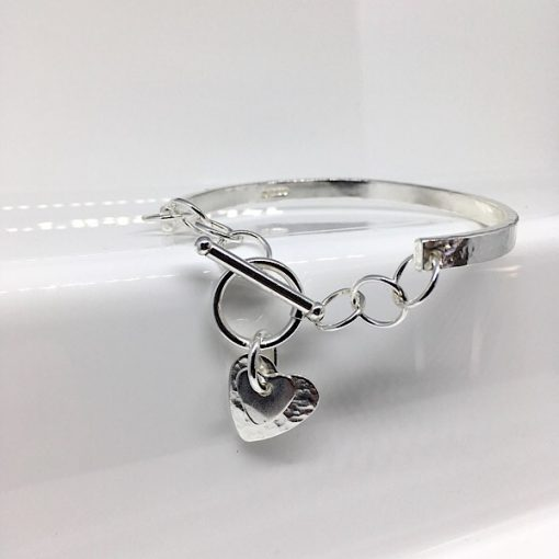 Handcrafted silver bangle bracelet