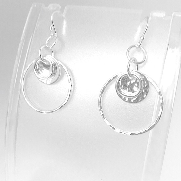 Silver hammered hoops with discs