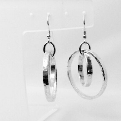 Silver hammered double hoop earrings. Dangly hoop earrings