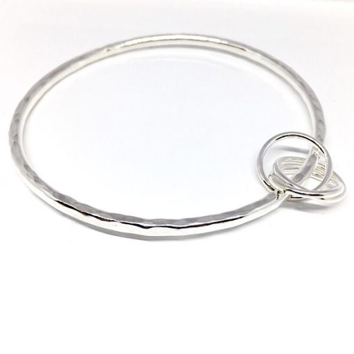 Anna silver bangle with russian ring charm. Hammered silver bangle bracelet
