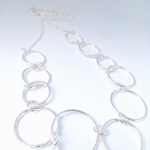 "Silver hammered 26"" length necklace. Contemporary stylish silver necklace"