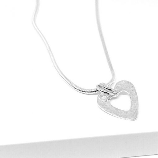 Silver hammered open heart necklace