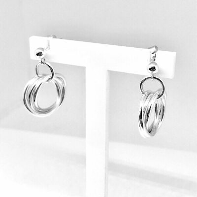 Silver interlinked russian ring earrings
