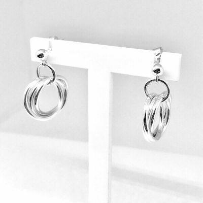 Silver interlinked russian ring earrings