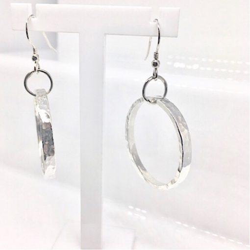 Silver hammered hoop earrings. Sterling silver earrings