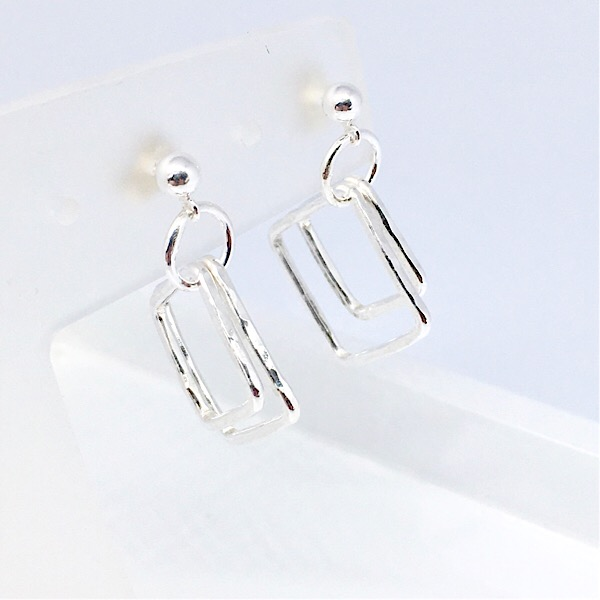 Silver double square earrings