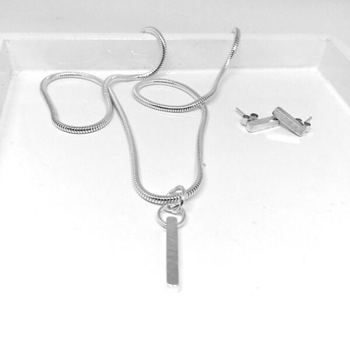Silver pendant and earring set