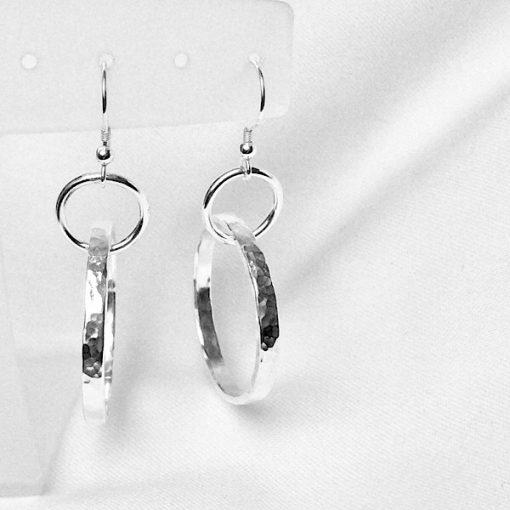 Textured hoop earrings. Silver handcrafted earings