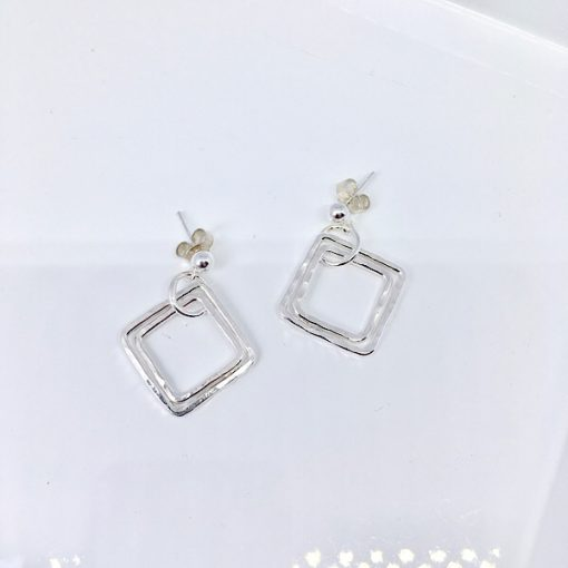 Silver hammered square earrings