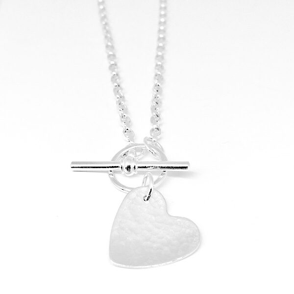 Silver heart necklace. Hammered heart necklace