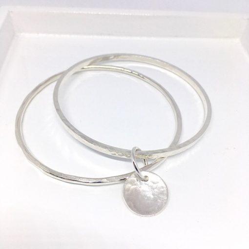 Silver stacking bangle. Personalised silver bangle bracelet
