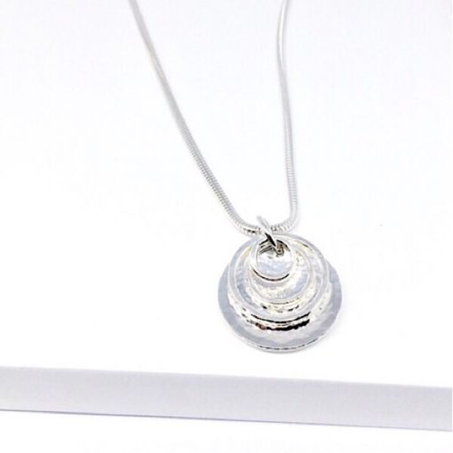 Solid silver hammered disc necklace