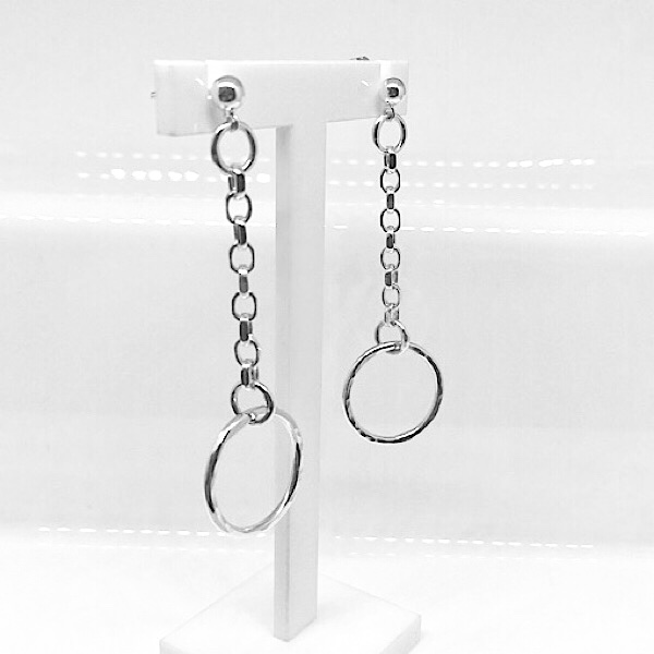 Silver hoop and chin earrings. Hammered silver earrings