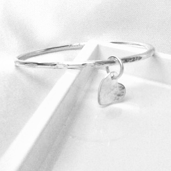 Silver stacking bangle. Personalised heart charm.