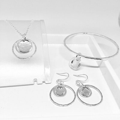 Silver hoop and disc collection