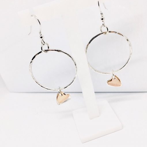 Silver and rose gold filled hoop and heart earrings. Dangly silver hoop earrings