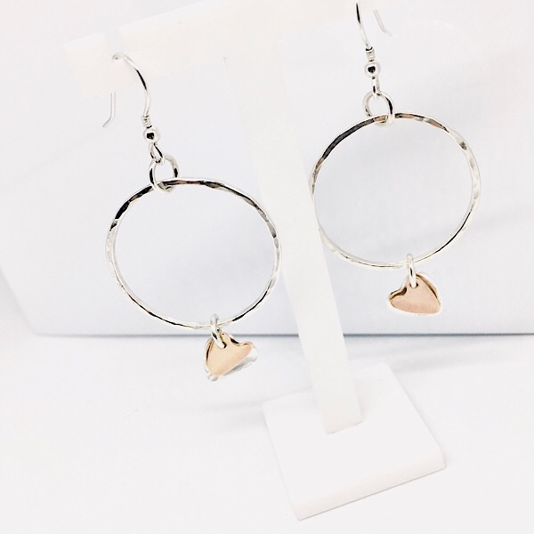 c418cfcad Silver and rose gold filled hoop and heart earrings. Dangly silver hoop  earrings