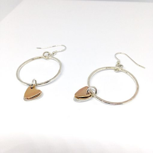 Silver hammered dangly hoops