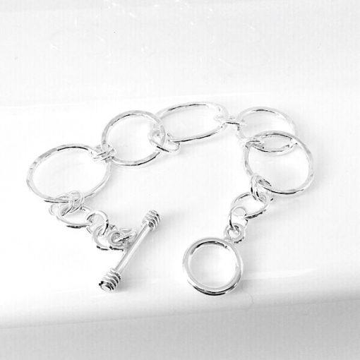 Cloe Silver oval and circle t bar bracelet