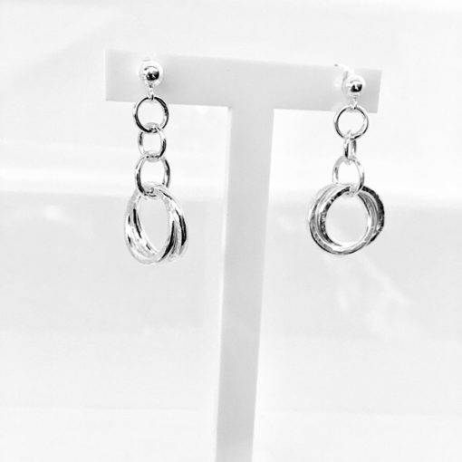Silver double interlinked earrings