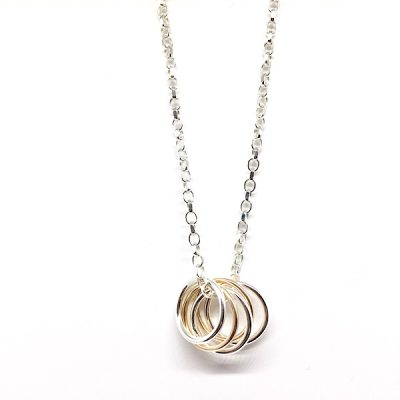 silver and rose gold rings necklace