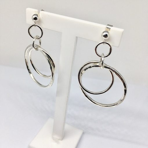 Silver dangly hoops