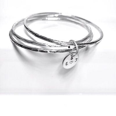 Personalised silver triple bangles