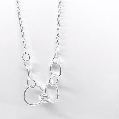 Hammered circle and chain necklace