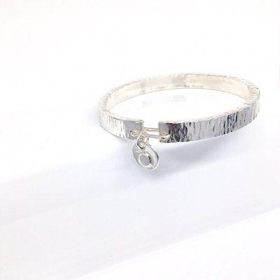 Chunky textured silver bangle
